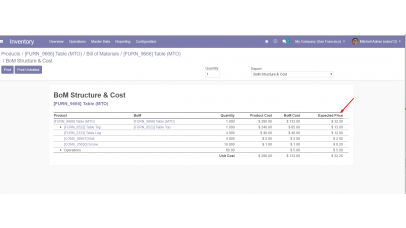 BoM Structure & Cost MRP product by Vendors pricelists Odoo 13