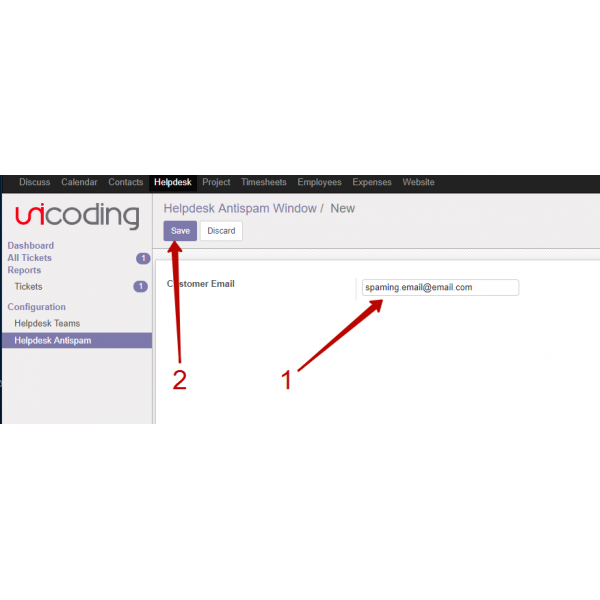 Helpdesk Antispam(filter) Odoo 10